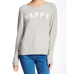 Wildfox Grey Happy Crewneck Sweatshirt Sweater